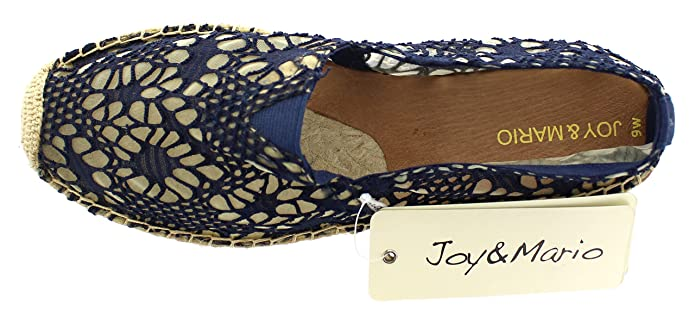 106f88fd8af Amazon.com | Joy & Mario Women's Basic Lace Espadrille Loafer Flats ...