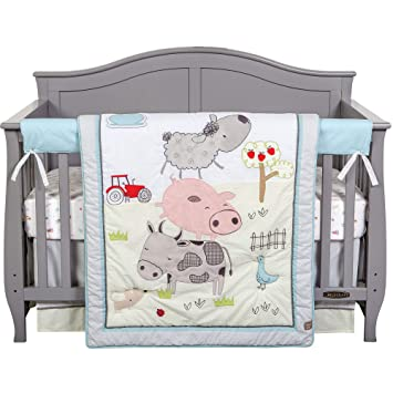 farm stack farm animal theme neutral 4 piece baby crib bedding set