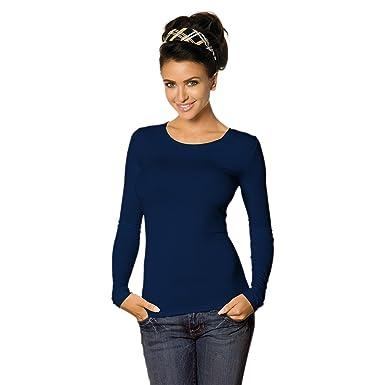 ade43fb6507b Damen Longsleeve Basic Shirt Stretch-Viskose Langarmshirt Rundhals Top  Bunte Farben Gr. 32 bis 50  Amazon.de  Bekleidung
