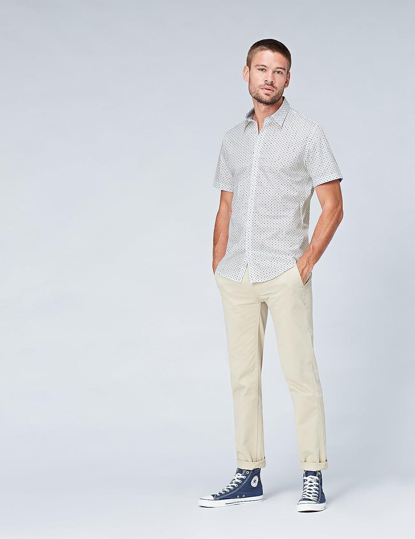 Amazon Brand - find. Men's Short Sleeve Slim Fit Shirt Green (Green Polka)