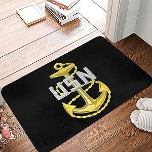 Us Navy Chief Petty Officernon-Slip Door Mat 40x60 Non-Slip Stain Anti-Fade Living Room Dining Room Carpet Front Entrance