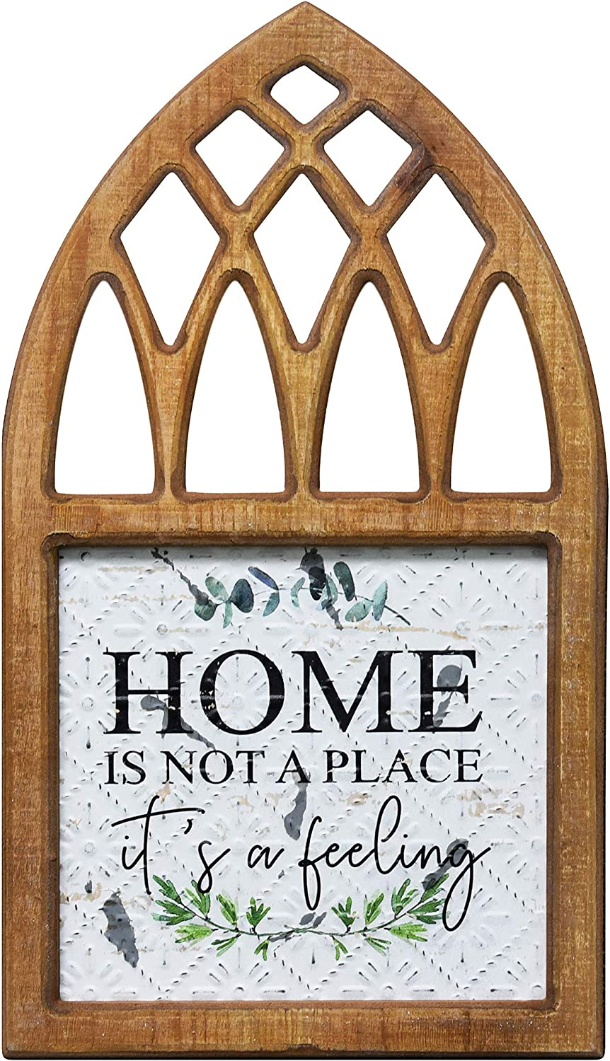 PrideCreation Wood Home Wall Signs, 16x8.7 inch Rustic Farmhouse Metal Wall Hanging Decor Art, Inset Embossed Decorative Sign Gift for Living Dining Room Bedroom - Home Is Not a Place It's a Feeling