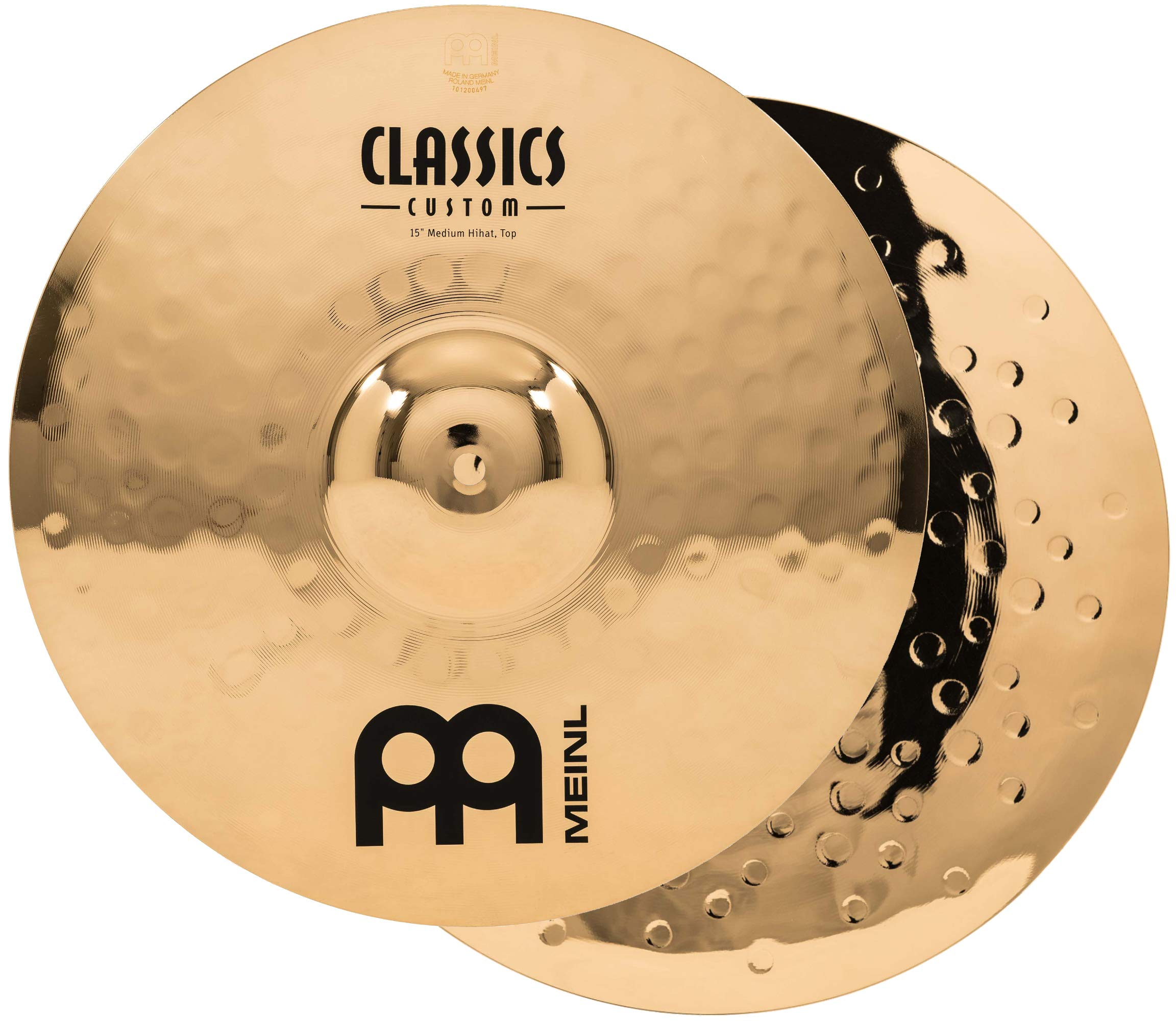 Meinl 15'' Medium Hihat (Hi Hat) Cymbal Pair  -  Classics Custom Brilliant - Made in Germany, 2-YEAR WARRANTY (CC15MH-B) by Meinl Cymbals