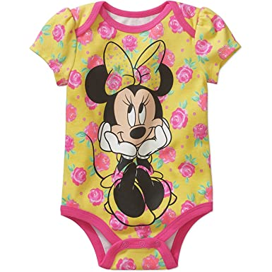 26df5ac988d Disney Minnie Mouse Bright Floral Baby Girls Bodysuit (Newborn) Yellow