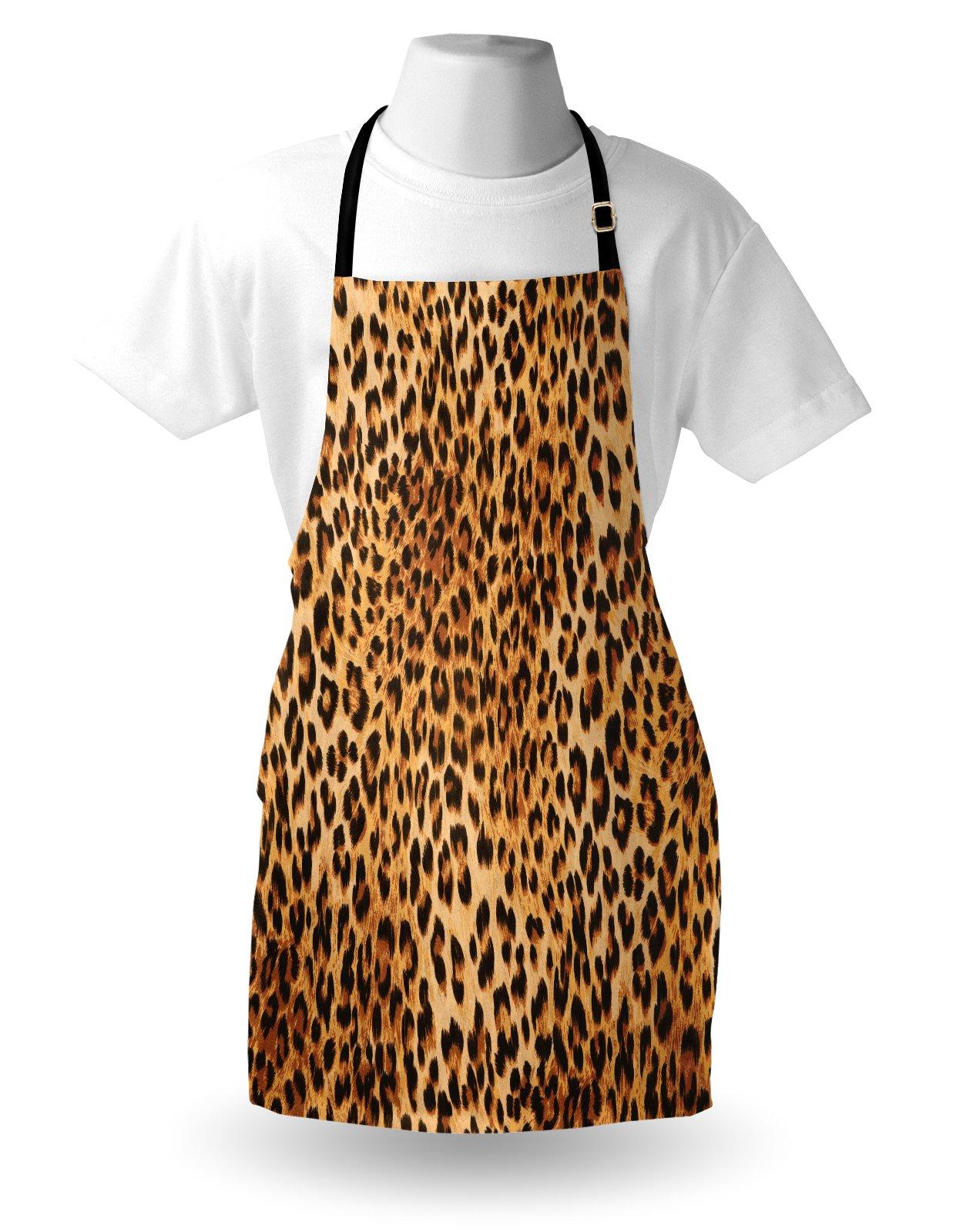 Lunarable Animal Print Apron, Wild Animal Leopard Skin Pattern Wildlife Nature Inspired Modern Illustration, Unisex Kitchen Bib Apron with Adjustable Neck for Cooking Baking Gardening, Sand Brown by Lunarable (Image #3)
