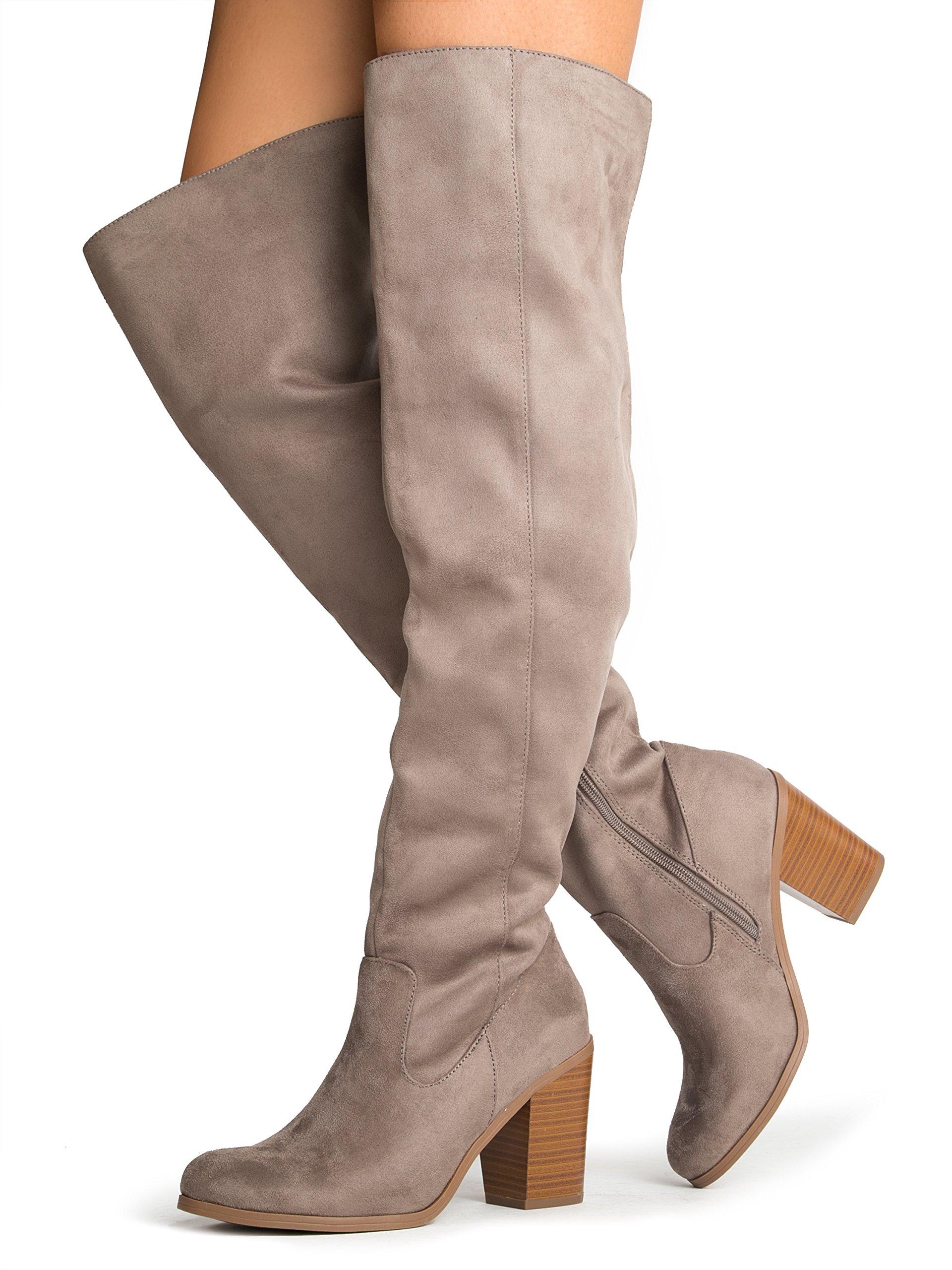 2715d19bad2 J. Adams Knee High Stacked Heel Boot – Comfortable Cushioned Dress High  Heel Shoes –