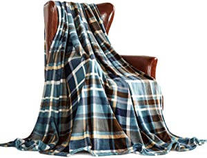 """MERRYLIFE Throw Blanket Plaid Sherpa   Ultra-Plush Soft Colorful Oversized   Decorative Couch Travel Blanket   King Size(90"""" 102"""", Greenland)"""