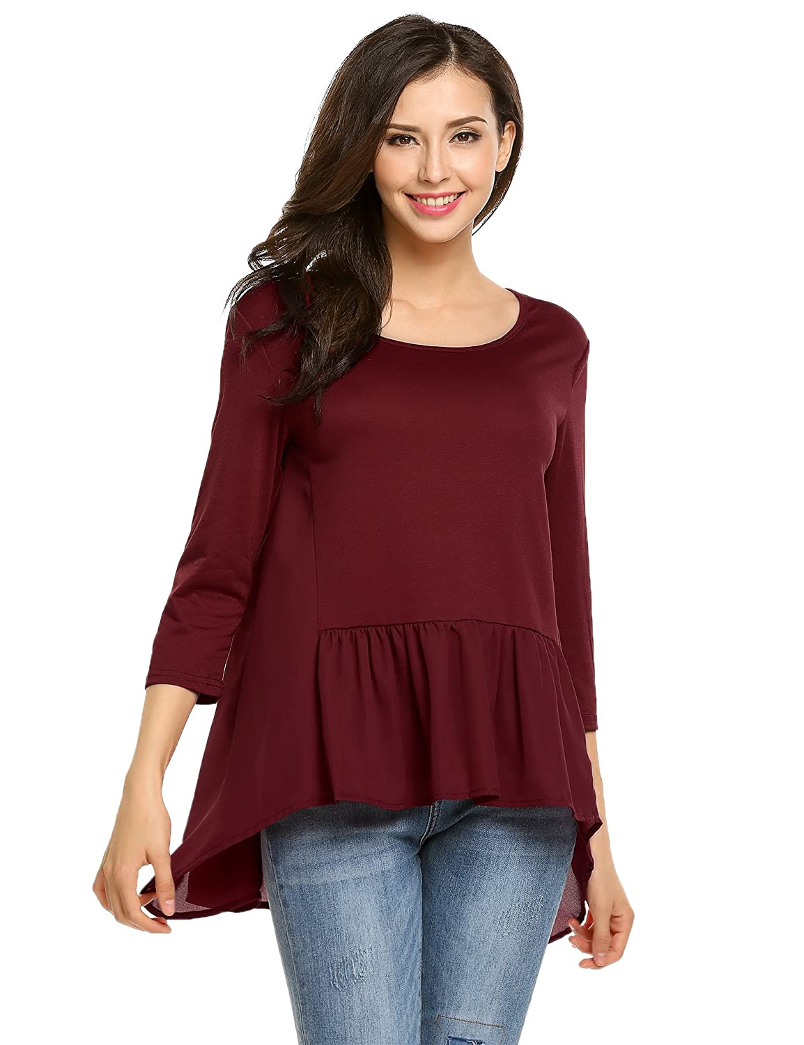 Meaneor Womens 3/4 Sleeve O-Neck Comfy Loose Fit Ruffled Hem Top MAH016167