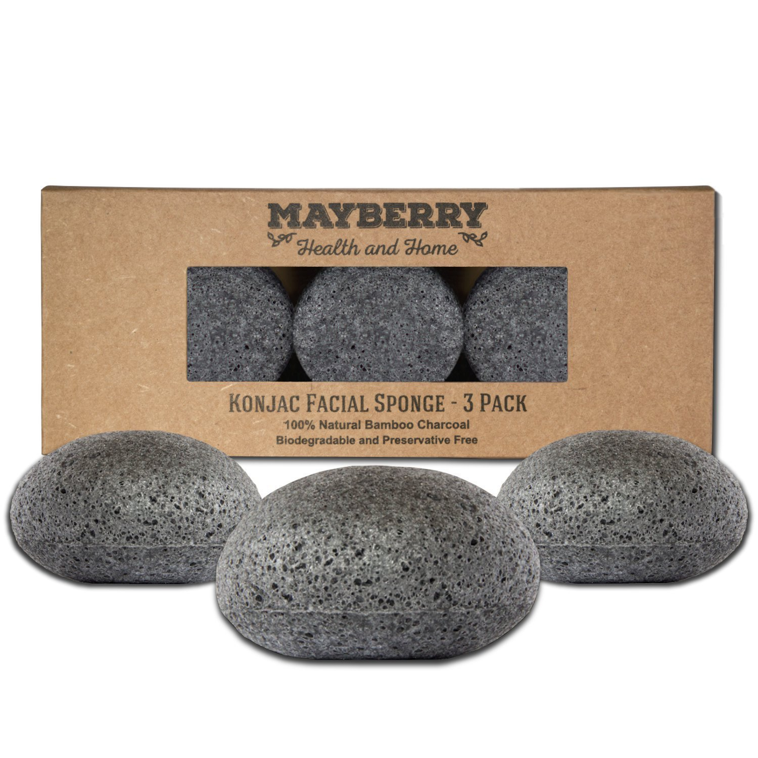 Konjac Exfoliating Sponge with Bamboo Charcoal – 3 Pack - 100% Natural Charcoal Face Sponge for Improving Skin's Look and Feel - Face Charcoal Sponge with Attached String for Hanging to Dry Mayberry Health and Home