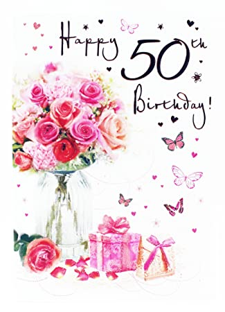 Happy 50th Birthday Greeting Card For Ladies Her Age Hallmark Verse Milestone