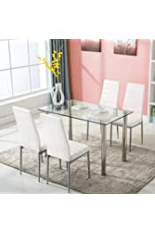 JOYBASE 5 Piece Dining Table Set, Tempered Glass Top Table with 4 Leather Chairs, Kitchen Dining Room Furniture, White