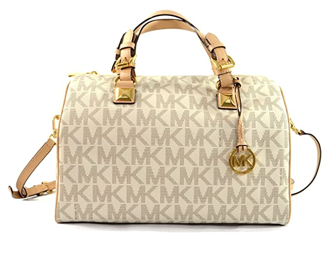 amazon com michael kors grayson large satchel signature pvc rh amazon com