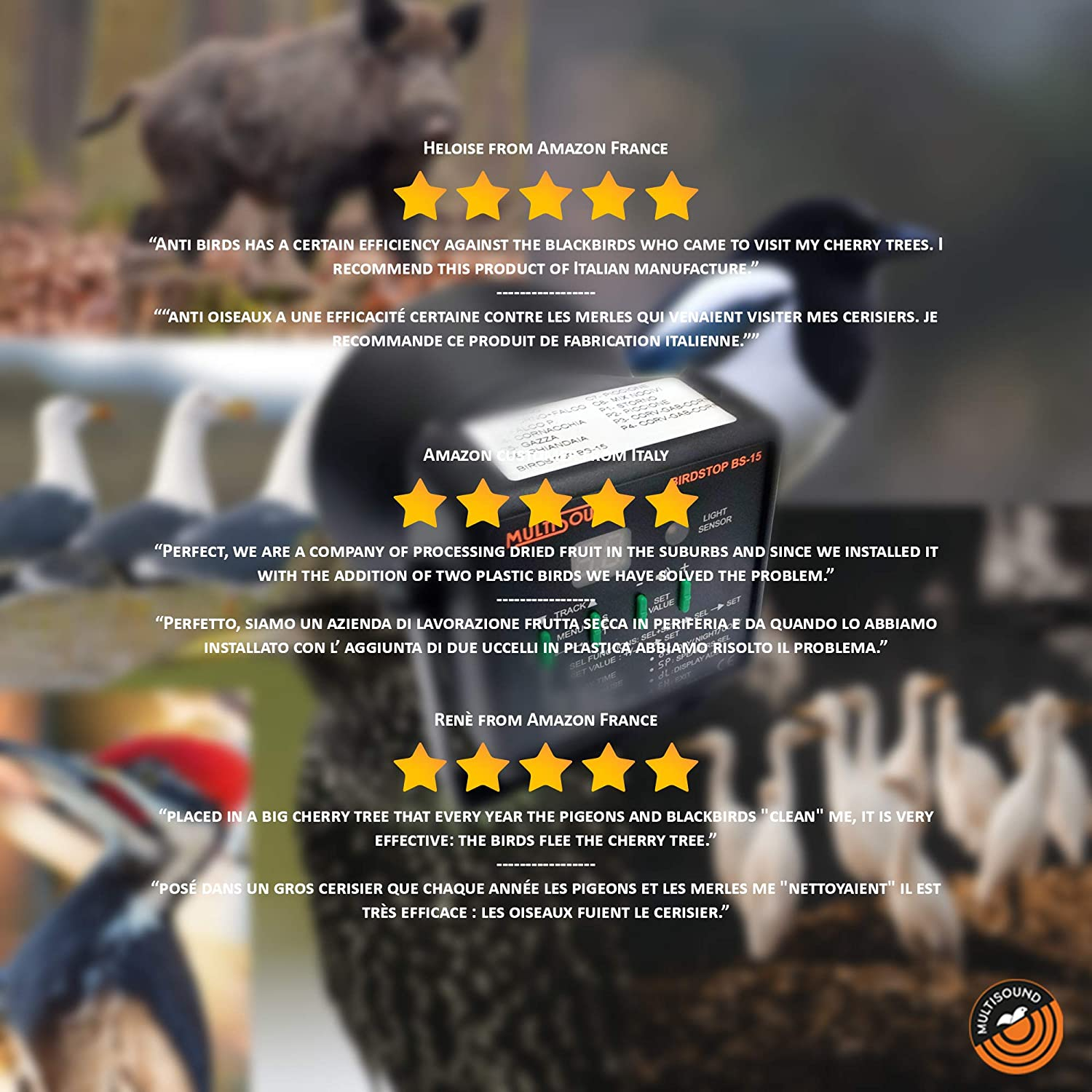 BS-15//A FARM 1 MultiSound BS-15 - Sonic Bird Repeller for Pigeons, Starlings, Seagulls, Magpie, Crow. Audible Birds Scarer that eliminates the problem of harmful birds in a natural way.