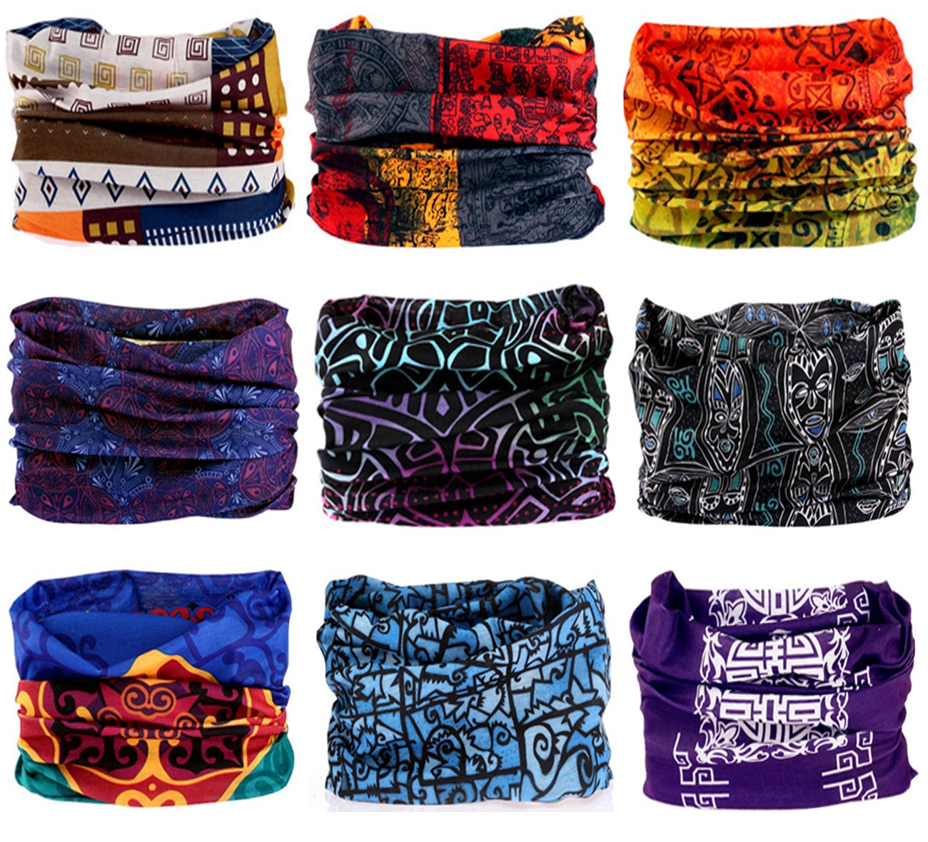 9PCS Outdoor Headscarves, Womens and Mens Headband Headwear (Indian Print)