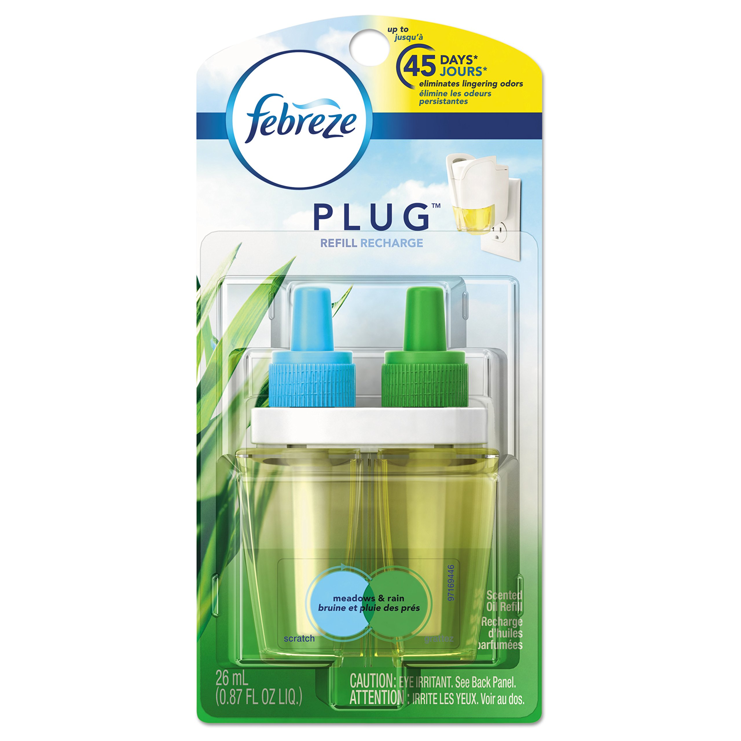 Febreze 45541 PLUG Air Freshener Refills, Meadows & Rain, 0.87 oz Refill (Case of 8)