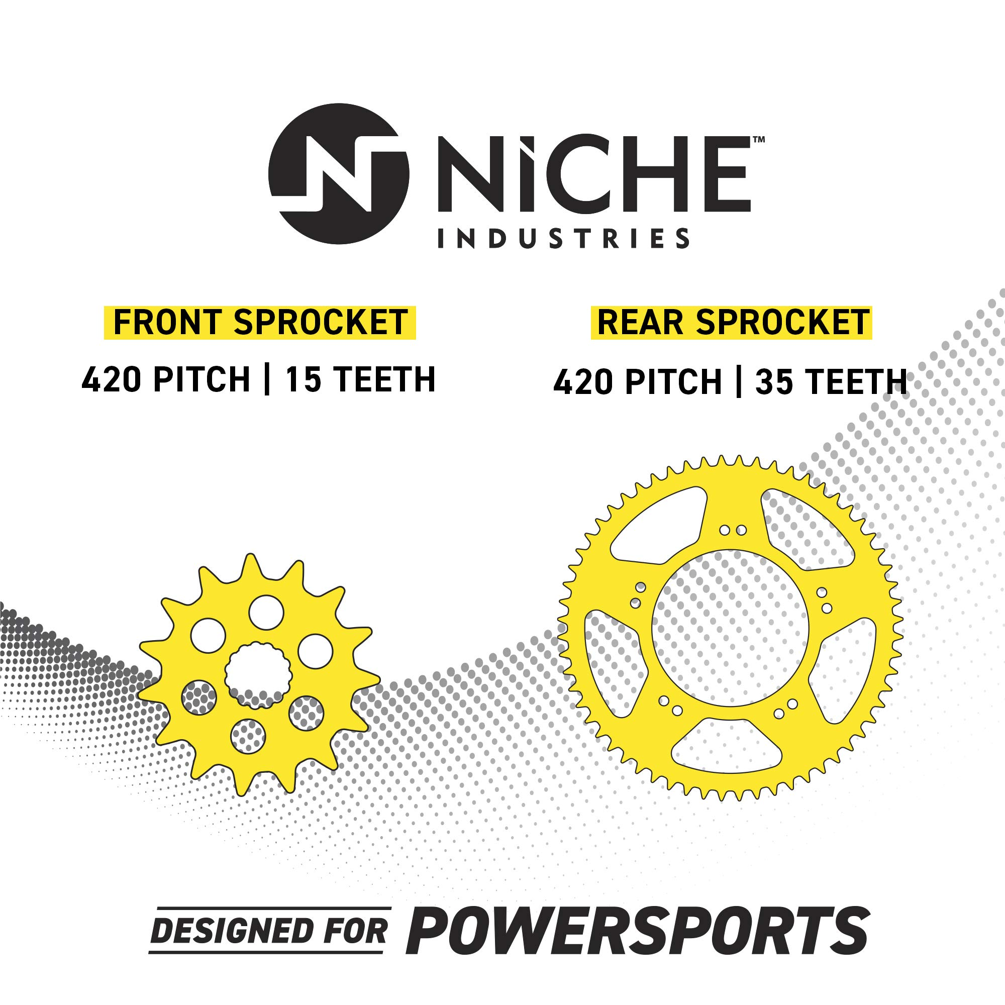 NICHE Drive Sprocket Chain Combo for Honda ST70 Dax G2 Front 15 Rear 35 Tooth 420HZ Standard 88 Links