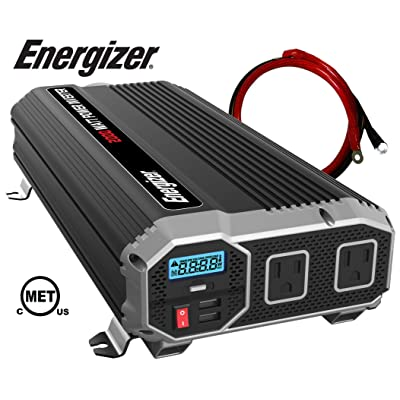 ENERGIZER 2000 Watt 12V Power Inverter, Dual 110V AC Outlets, Automotive Back Up Power Supply Car Inverter, Converts 120 Volt AC with 2 USB ports 2.4A Each: Automotive