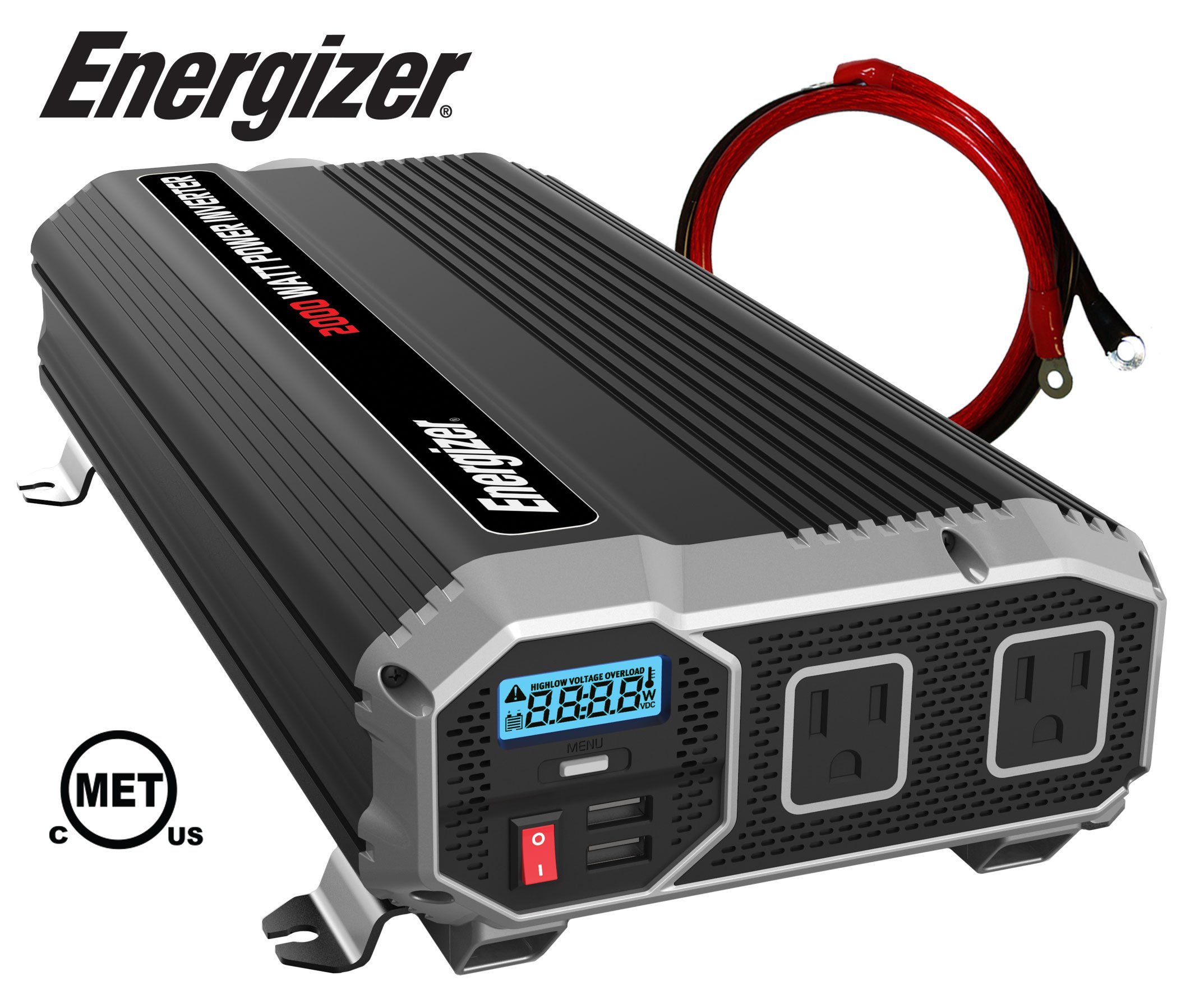 ENERGIZER 2000 Watt 12V Power Inverter, Dual 110V AC Outlets, Automotive Back Up Power Supply Car Inverter, Converts 120 Volt AC with 2 USB ports 2.4A Each by Energizer