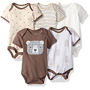 Rene Rofe Baby Baby Collection Unisex 5-Pack Bodysuits, Brown Bear, 3-6 Months