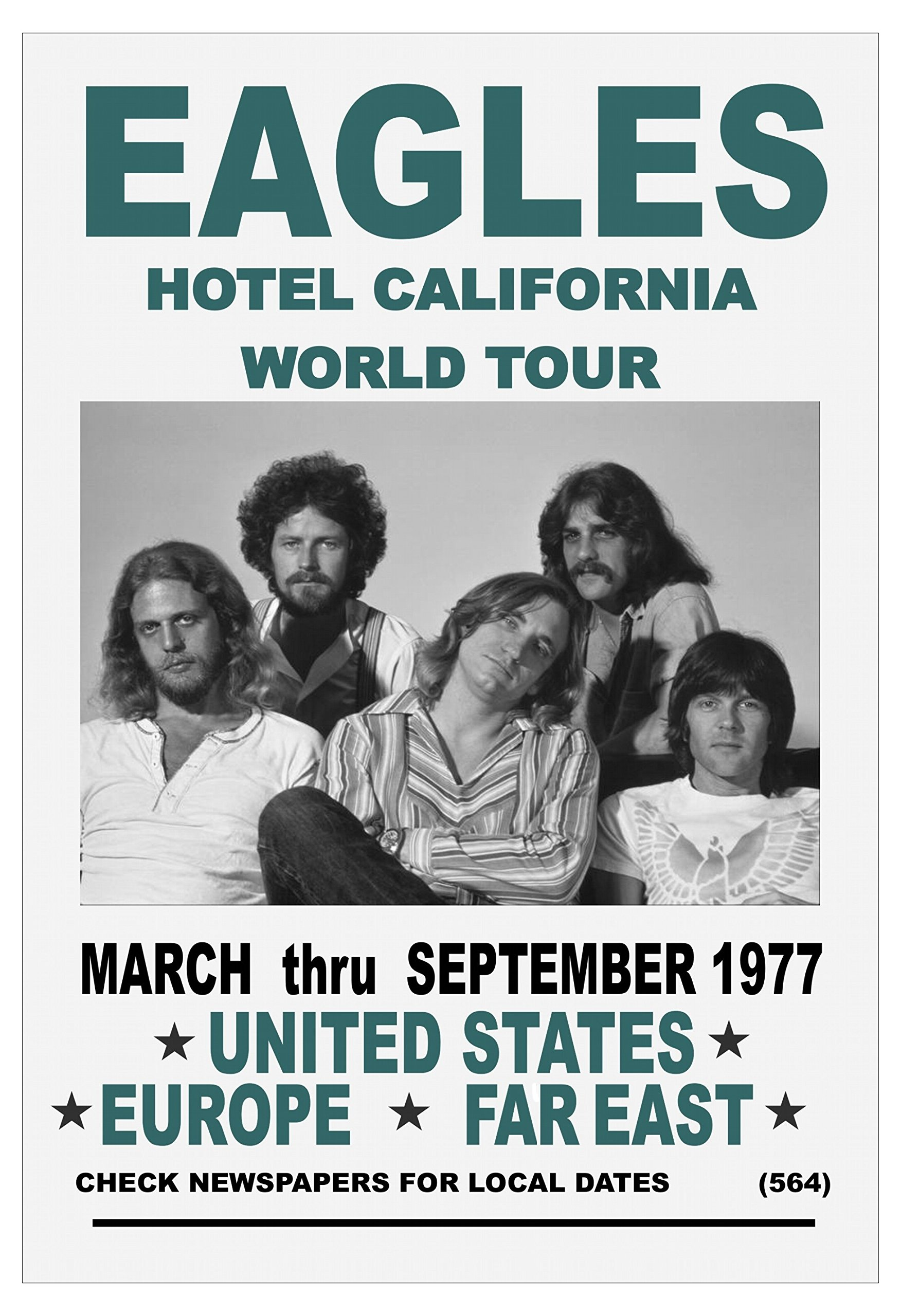 Eagles World Tour 1977 USA far East and Europe Hotel California Tour Concert Poster