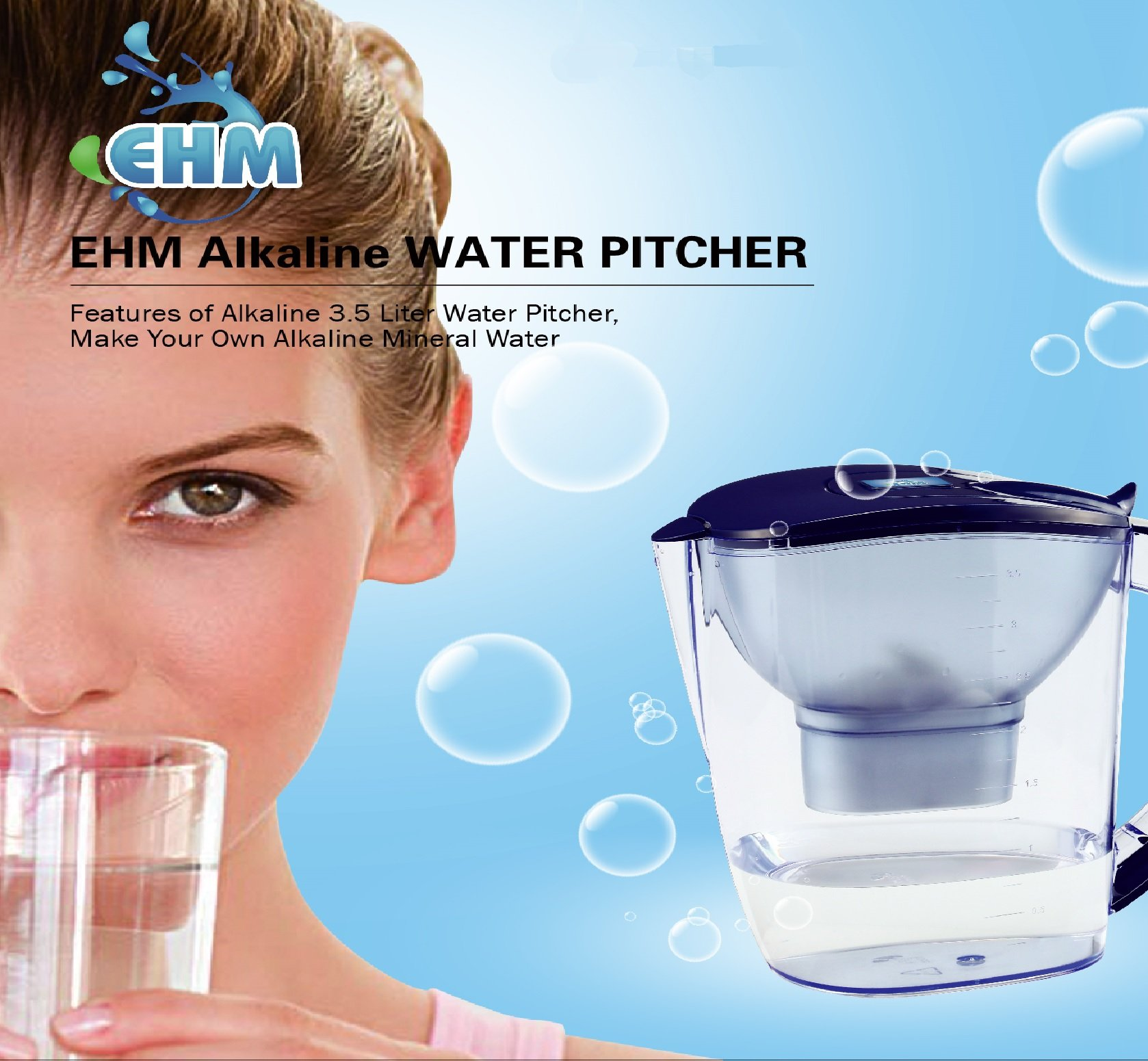 EHM ULTRA Premium Alkaline Water Pitcher - 3.5L Pure Healthy Water Ionizer With Activated Carbon Filter - Healthy, Clean & Toxin-Free Mineralized Alkaline Water In Minutes - PH 8.5 - 9.5 - 2018 by EHM (Image #2)