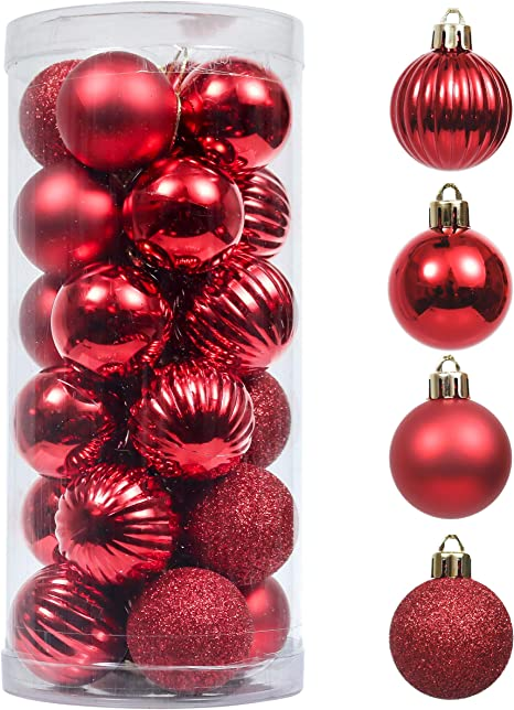 Amazon Com Valery Madelyn 24ct 40mm Christmas Ball Ornaments Red Decoration Shatterproof Small Xmas Christmas Tree Ornaments Balls Themed With Tree Skirt Not Included Kitchen Dining