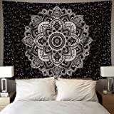 IceJazz Mandala Tapestry Wall Hanging Black & Gray Wall Art Floral Decorative for Bedroom Living Room 51x59 Inches