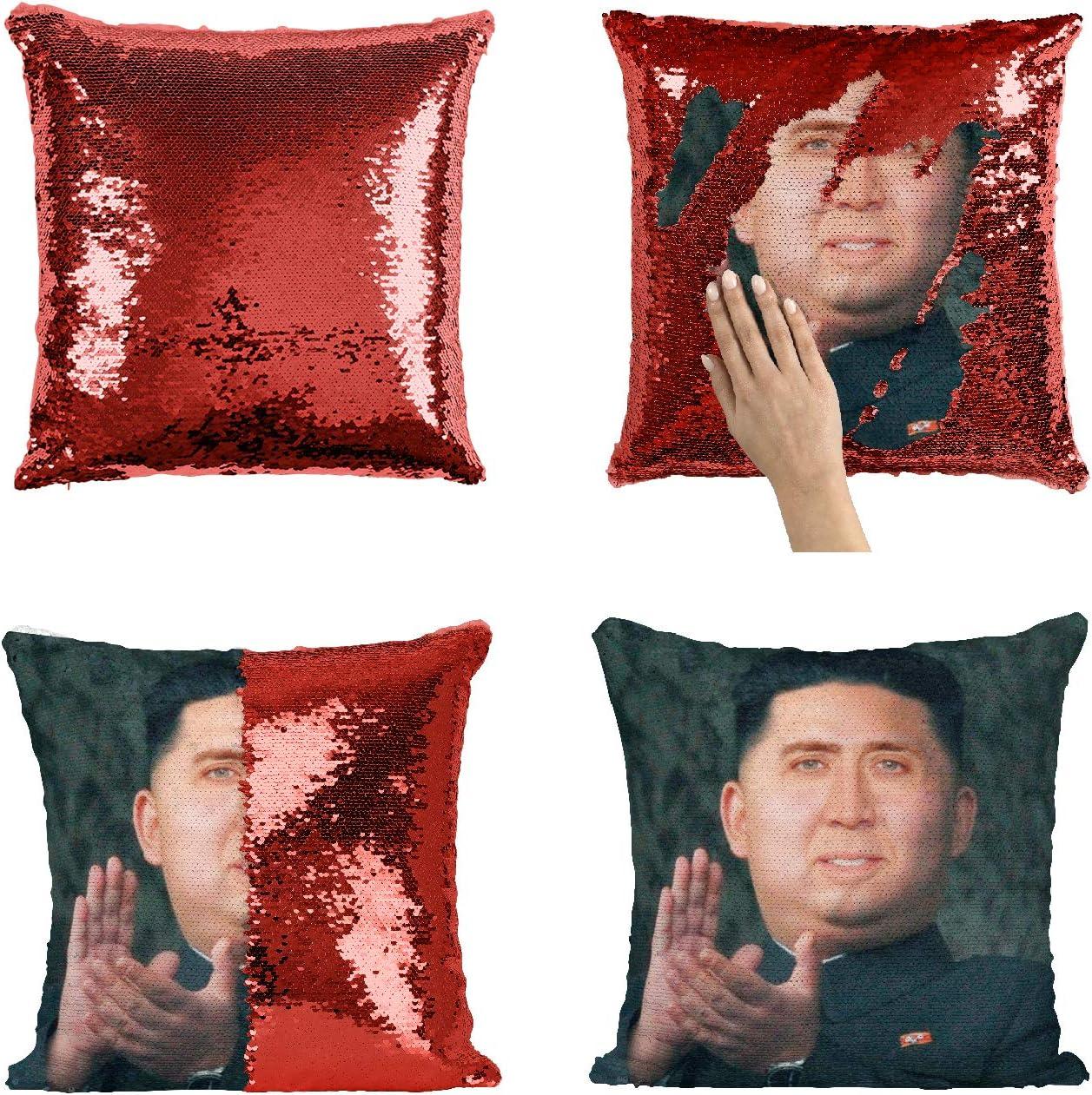 Kim Jong Un Nicolas Cage Sequin Pillowcase, Mermaid Pillow, Reversible Pillow, Pillowcase Funny Pillow, Xmas, Birthday, Gift, Present, Celebrity Animation Fanart (Pillow Cover)