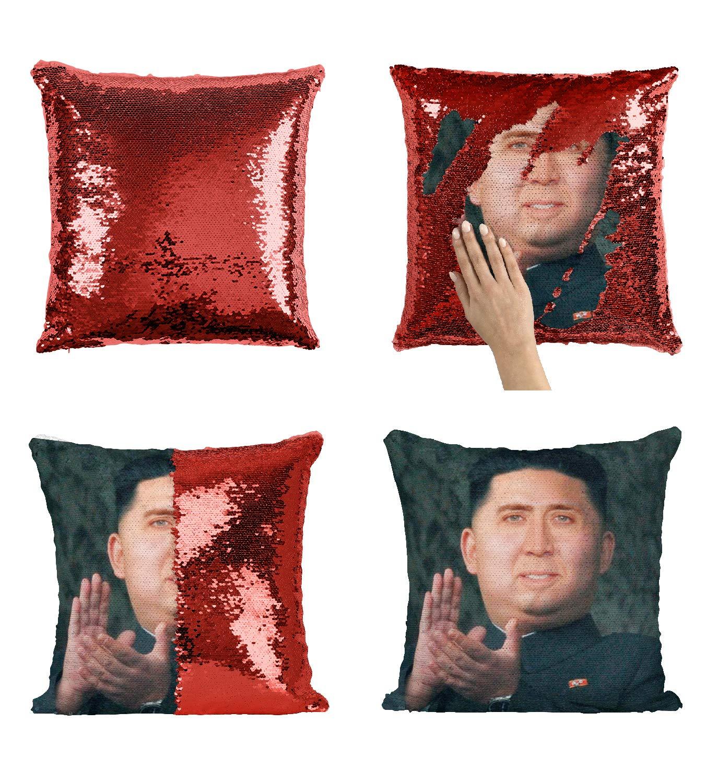 Amazon.com: Kim Jong Un Nicolas Cage Sequin Pillow, Scales ...