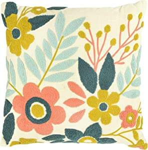 Creative Co-op Square Floral Embroidered Cotton Pillow, Multicolor