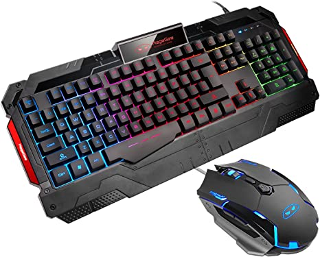 Gaming Mouse and Keyboard Silent 104 Key with Wrist Rest for PC Laptop Breathing LED Backlit Keyboard and Mouse Set GK806 Wire Keyboard and Mouse Combo /— Keyboard and Mouse Included