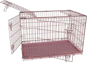 Allmax 3-Door Folding Metal Dog Crate with ABS Tray