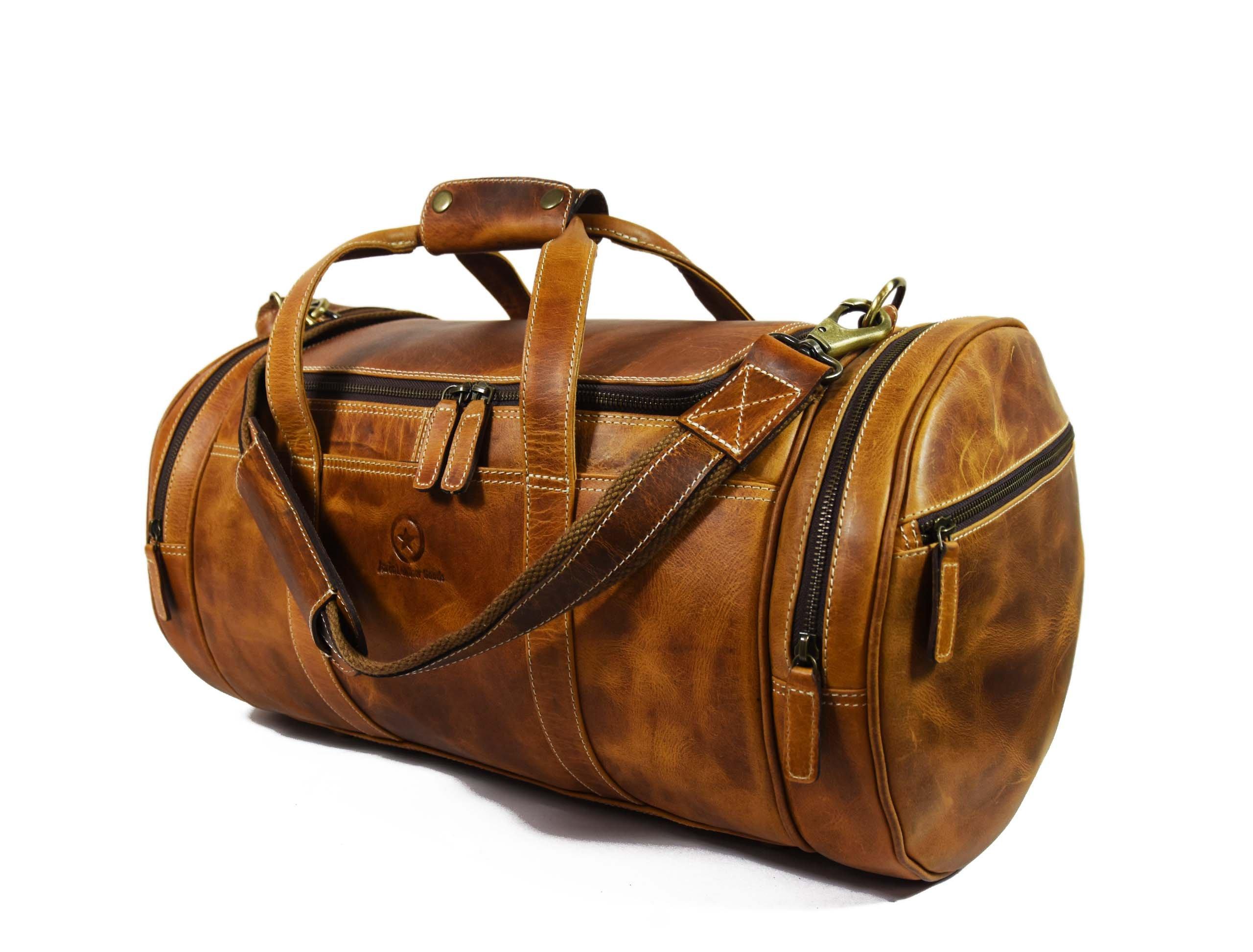 Travel Duffel Overnight Barrel Weekend Leather Bag by Aaron Leather (Brown) by Aaron Leather (Image #2)