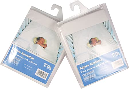 Ti TIN - Pack de 2 Sábanas Bajeras para Cuna o Maxicuna 100% Algodón | Lote de 2 Sábanas Bajeras Ajustables con Elásticos, 2 Unidades Color Blancas: Amazon.es: Hogar