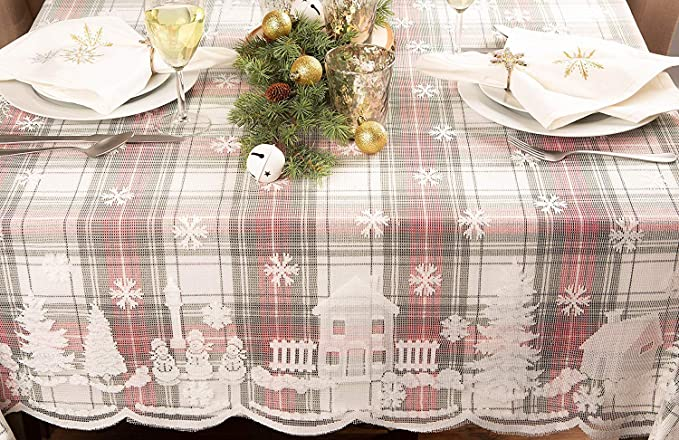 Amazon.com: Asunflower - Manteles de Navidad, diseño de copo ...
