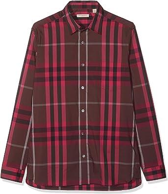 BURBERRY Camisa Hombre Nelson Rojo Oscuro M: Amazon.es: Ropa y accesorios