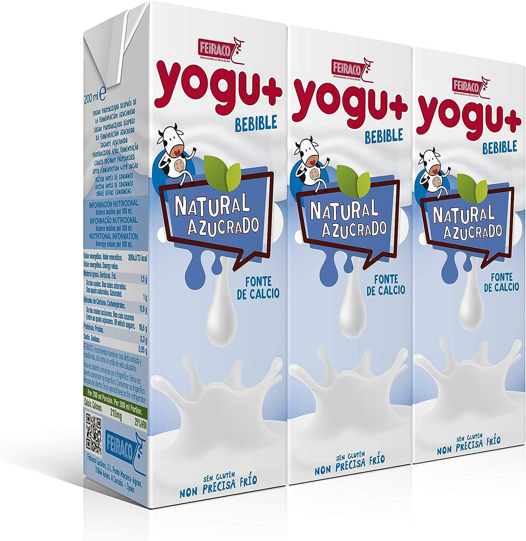 Feiraco Yogu+ Natural Azucarado - Paquete de 8 packs de 3x200 ml - Total: 4800 ml