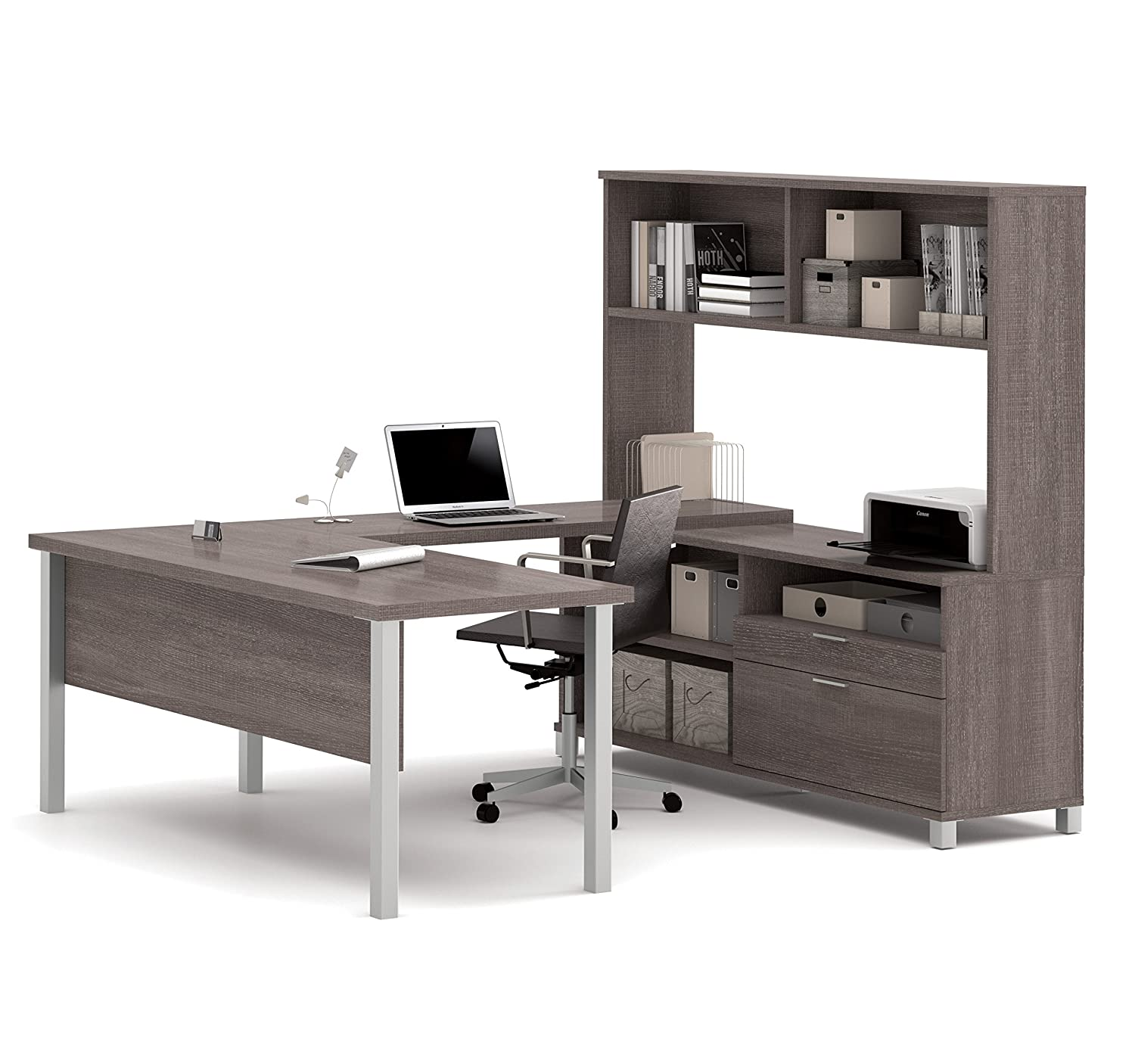 Amazon.com: BESTAR Pro Linea U Desk With Hutch, Bark Grey: Kitchen U0026 Dining