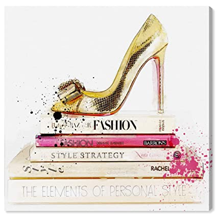 aad306772d3 Amazon.com: The Oliver Gal Artist Co. Glam Wall Art Canvas Prints 'Gold  Shoe and Fashion Books' Home Décor, 12