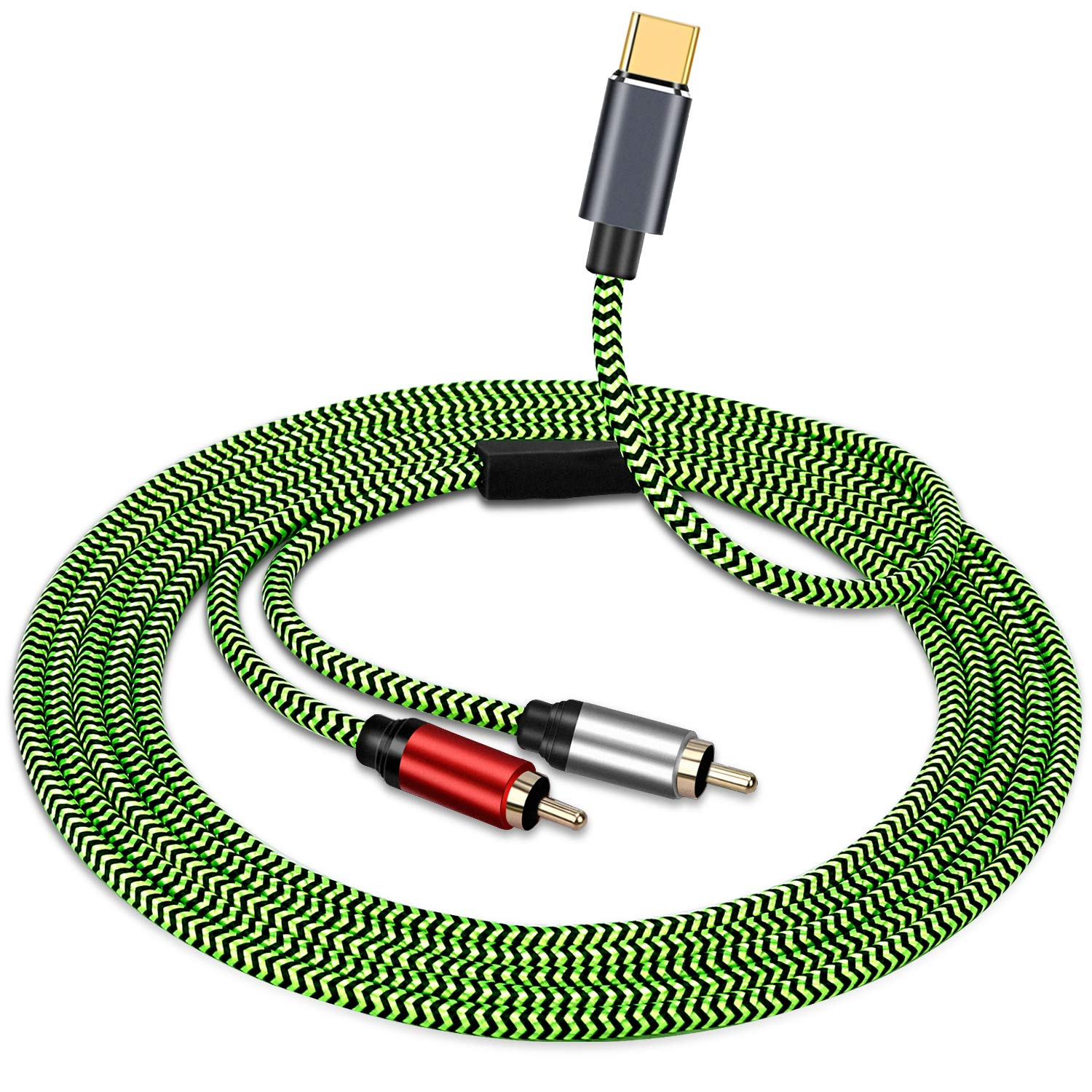 PPTVC USB Type C to 2 RCA Audio Cable,Type-C RCA Cable 6ft, 2rca Jack USB-C Audio Line for Xiaomi,LG,Home Theater Amplifier,DVD, TV Speaker
