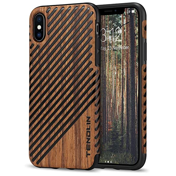 cheap for discount 48183 7d5e3 TENDLIN Compatible with iPhone Xs Case/iPhone X Case with Wood Grain  Outside Soft TPU Silicone Hybrid Slim Case Compatible with iPhone X and  iPhone Xs ...