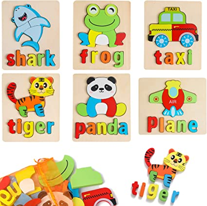 Preschool Educational Toys Gift for Boys and Girls. 1 Pack Unique Chunky Animal Puzzle with Board Wooden Frog Puzzles for Toddlers Kids 1 2 3 Years Old