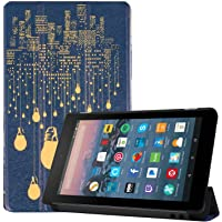 Maomi for Amazon Fire 7 inch case 2019/2017 Release - PU Leather Smart Cover with Auto Wake/Sleep for Kindle Fire 7 inch Tablet 9th/7th Generation (City Night)
