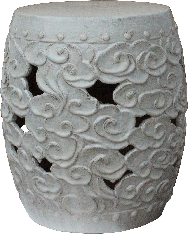 International Caravan Perforated Drum Ceramic Garden Stool Antique White Glaze
