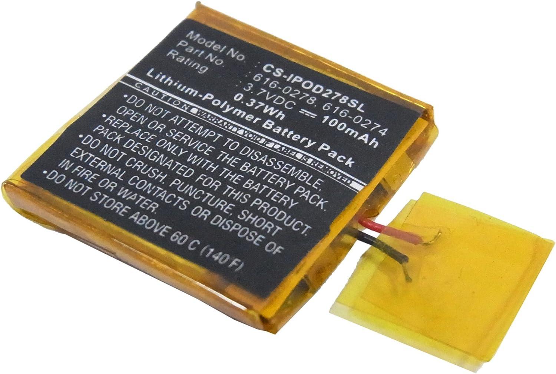 Shuffle G3 vhbw®MP3 PLAYER AKKU BATTERIE 100mAh für APPLE Ipod Shuffle G2 1GB