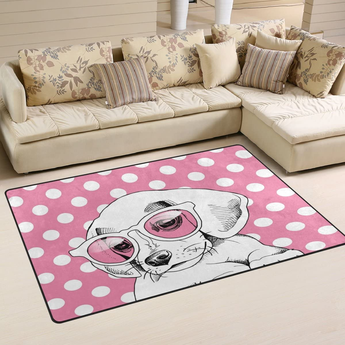 WOZO Pink Polka Dot Puppy Dog in Glasses Area Rug Rugs Non-Slip Floor Mat Doormats for Living Room Bedroom 60 x 39 inches
