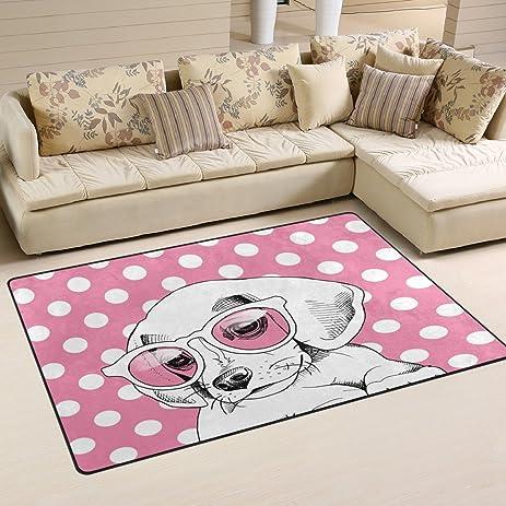 Amazon.com: WOZO Pink Polka Dot Puppy Dog in Glasses Area Rug Rugs ...