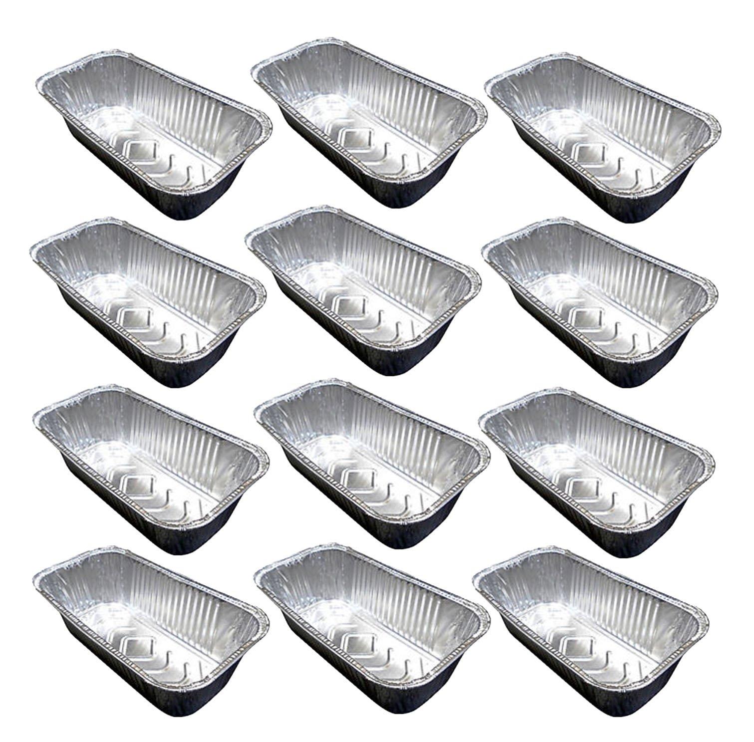 "Set of 12 Disposable Aluminum 9"" x 5"" x 3"" Medium Size Loaf Pans (12)"