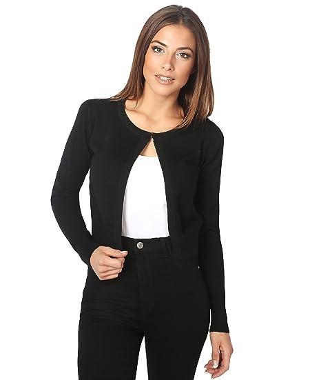 4b82300072 KRISP® Women Soft Cashmere Knit Long Sleeve Short Cardigan Jumper Shrug Top  Work Red  Amazon.co.uk  Clothing