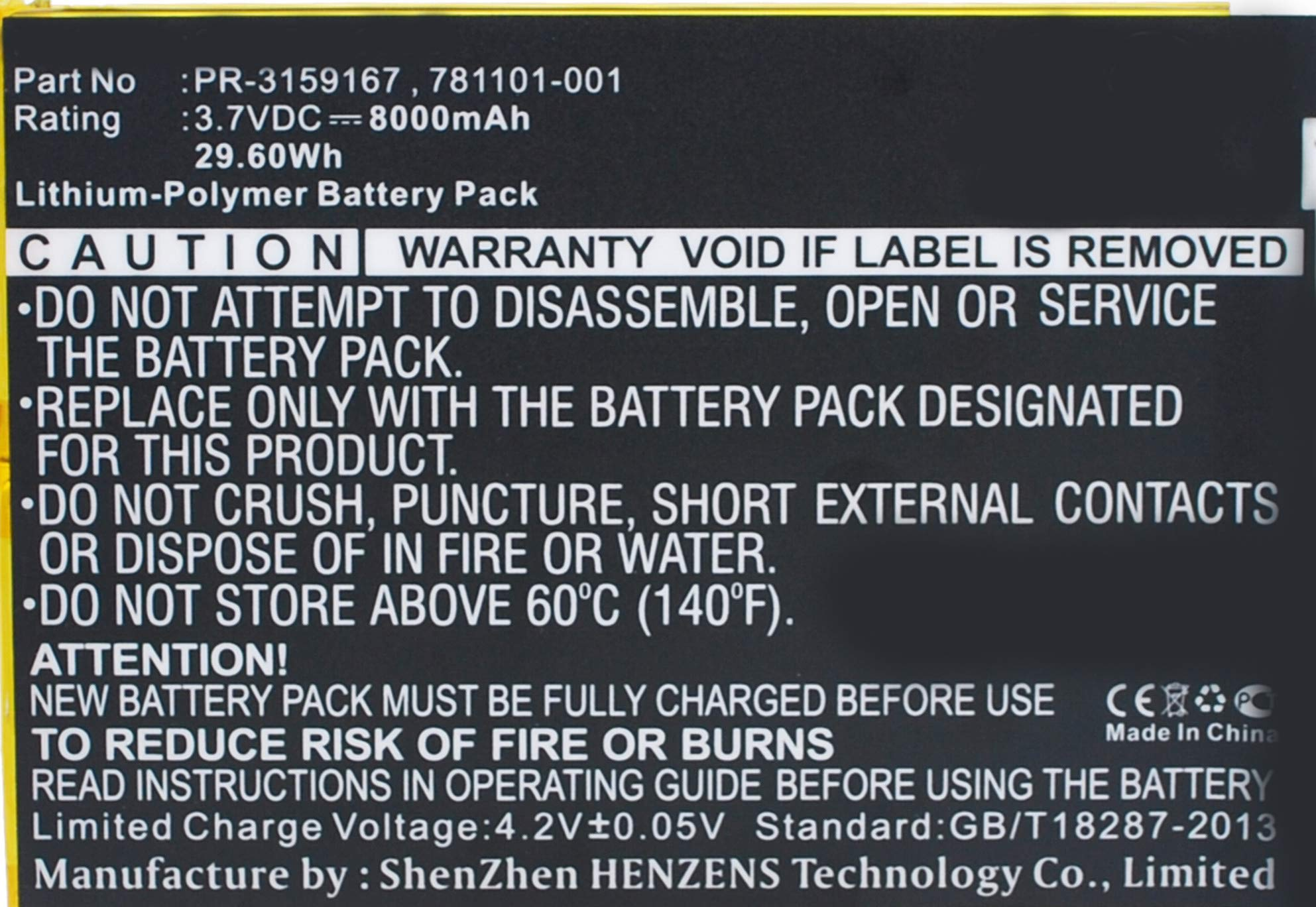 Synergy Digital Battery Compatible with HP 2201 Tablet Battery (Li-Pol, 3.7V, 8000 mAh) - Repl. HP 781101-001 Battery
